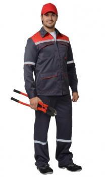 """Костюм """"МЕХАНИК"""": куртка, брюки серый с красным и СОП 25 мм. тк.CROWN-230"""