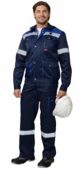 """Костюм """"ТИТАН"""": куртка кор., п/комб. синий с васильковым и СОП тк.CROWN-230"""
