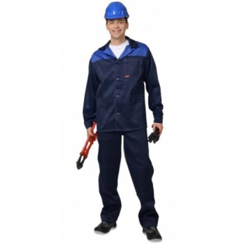 "Костюм ""Аспект"" куртка дл., брюки, темно-синий с васильковым"