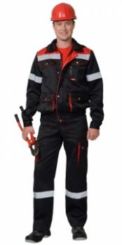 """Костюм """"ТИТАН"""": куртка кор., п/комб. черный с красным с СОП тк.CROWN-230"""