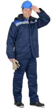 "Костюм ""ЛЕГИОНЕР""зимн.: куртка дл., брюки темно-синий с васильковой кокеткой"