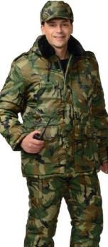 """Костюм """"ОХРАННИК"""" зимний: куртка дл., полукомбинезон КМФ зелёный"""