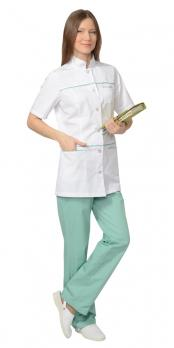 """Костюм """"ЛАУРА"""" женский: блуза, брюки, (белый с мятным)"""